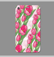 modern phone cover case with tulip seamless vector image vector image