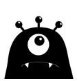 monster head silhouette one eye teeth fang black vector image vector image