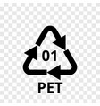 pet recycling code plastic arrow icon vector image