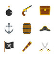 pirates attributes icon set flat style vector image vector image
