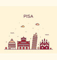 pisa skyline italy linear style city vector image vector image