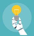 robot arm hold bulb vector image