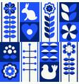 scandinavian folk art style pattern set vector image vector image