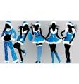 set of christmas girls- vector image vector image