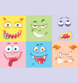 set of colourful monster faces vector image