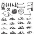 set of mountains icons hiking elements design vector image vector image