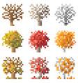 set of pixel autumn treebirch oak apple-tree vector image