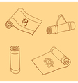 set of yoga mat doodles vector image