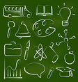 Set school icons in chalk doodle style vector image