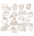 simple set of dessert related line icons vector image