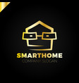 smart home logo design template head with glass vector image vector image