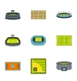 Sports stadium icons set flat style vector image vector image