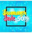Summer Sale 50 Off Lettering over Blue Abstract vector image
