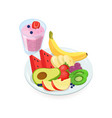 tasty slices of fresh exotic fruits lying on plate vector image vector image