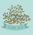 Thank you greeting card with bud flower vector image vector image