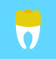 tooth with gold dental crown isolated dentist vector image vector image