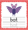 tracing words flashcard - bat writing practice vector image vector image