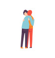 two happy young men embracing each other happy vector image vector image