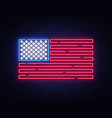 usa flag neon sign night bright signboard vector image