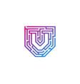 v maze letter logo icon design vector image