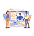webinar digital classroom online teaching concept vector image
