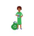 woman volunteer cartoon character collecting vector image vector image