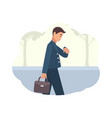 young man going to work in morning male character vector image vector image
