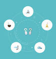 flat icons aqualung slippers hat and other vector image