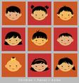 set cute faces Asian children flat style vector image