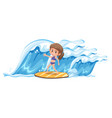 a girl surfing the big wave vector image