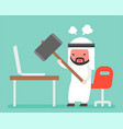 angry arab businessman carrying hammer to destroy vector image