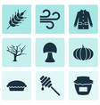 autumn icons set with wind coat wheat and other vector image