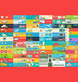 big collection of banners in flat style in set vector image vector image