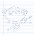 Bowl of boiled rice with chopsticks vector image vector image