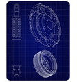 brake disc wheel and shock absorber on a blue vector image vector image