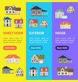 cartoon houses exterior banner vecrtical set vector image vector image