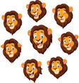 cartoon lion head with various expression vector image vector image