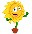 Cartoon smile sunflower vector image