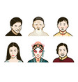 chinese people faces vector image vector image