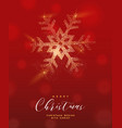 christmas gold glitter snowflake greeting card vector image vector image