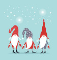 christmas greeting card three cute gnomes in hats vector image