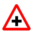 cross roads traffic sign isolated vector image vector image