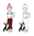 cute girl bun hair with cat and dog vector image vector image