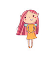 cute smiling girl with pink hair little wings and vector image