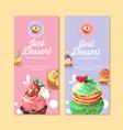 dessert flyer design with choux cream cupcake vector image vector image