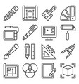 drawing and painting tools icons set on white vector image