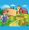 farmer theme image 6 vector image vector image