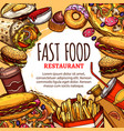 fastfood restaurant menu poster vector image vector image