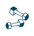 fitness dumbbell icon in doodle style isolated on vector image