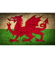Flags Wales with dirty paper texture vector image